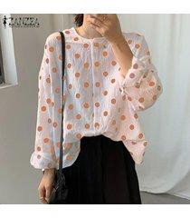 zanzea mujeres del lunar de gran tamaño camisa ocasional tops cuello redondo blusa de las tapas plus -amarillo