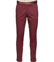 slhslim-yard pants w noos chinos byxor röd selected homme