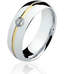 aliança prata 925 filete de ouro elegance natalia joias ant-17/p