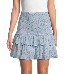 allison new york women's smocked floral skirt - blue floral - size xs