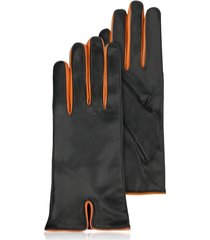 forzieri designer women's gloves, black & orange cashmere lined leather ladies' gloves