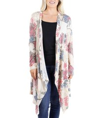 women's long sleeve open front floral print cardigan