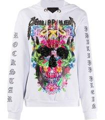 philipp plein floral rock star hoodie - white