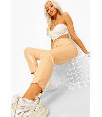 nepleren skinny fit broek met drukknoopjes, nude