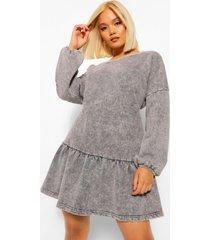 petite acid wash gebleekte sweatshirt jurk met geplooide zoom, grijs