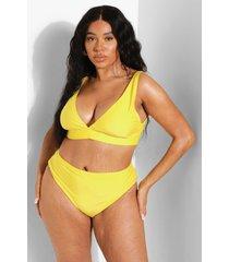 plus gerecyclede bikini top met laag decolleté, yellow
