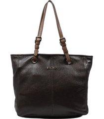 bolsa em couro recuo fashion bag shopper café/telha