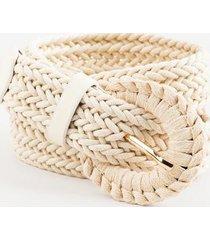 caitlyn braided stretch belt - ivory