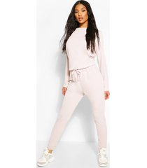 sweatstof jumpsuit met joggingbroek, mauve