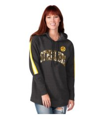 g-iii sports pittsburgh steelers women's double team tunic hoodie