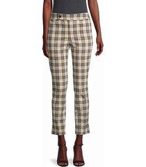 cropped cotton plaid pants
