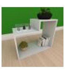 kit com 2 mesa de cabeceira moderna simples com nichos em mdf cinza