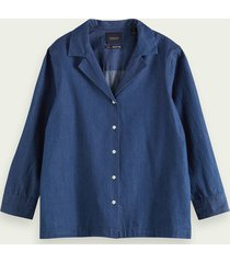 scotch & soda denim blouse met lange mouwen van 100% katoen