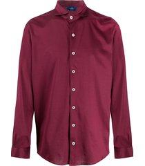 barba spread collar shirt - red
