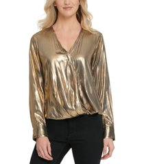 dkny metallic wrap-front blouse