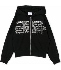 burberry black cotton zip front hoodie