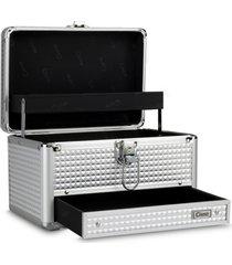 maleta de maquiagem média cisne alumínio reforçada prata