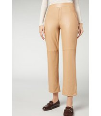 calzedonia leather effect thermal cigarette leggings woman nude size xs