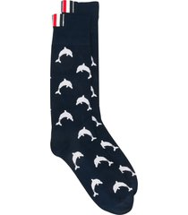 thom browne mid-calf dolphin icon socks - blue