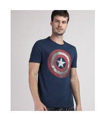 camiseta masculina capitão américa manga curta gola careca azul marinho