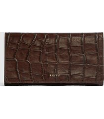 reiss longford - leather travel wallet in chocolate, mens