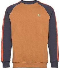 colour block crew neck sweatshirt sweat-shirt tröja brun lyle & scott