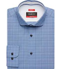 awearness kenneth cole awear-tech blue plaid slim fit dress shirt