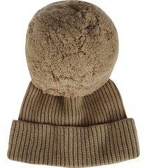 alberta ferretti pom pom detail knit beanie