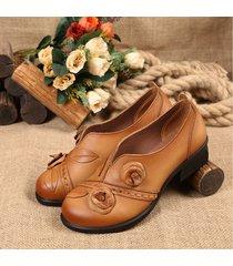 socofy scarpe manofatte in rétro floreale con metà tacchi in folkwyas originali