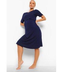 zwangerschap borstvoeding nachtjapon met laagjes, navy
