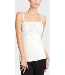 rose parfait camisole with lace pajamas, women's, white, 100% silk, size l, josie natori