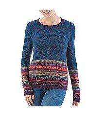 100% alpaca pullover sweater, 'andean flowers in eggplant' (peru)