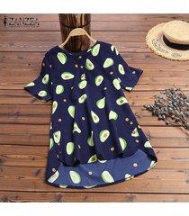 zanzea verano de las mujeres de aguacate imprimir top tee camiseta de la moda del blusa de las señoras -azul marino