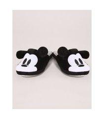 pantufa infantil aberta mickey com orelhinhas e antiderrapante preta