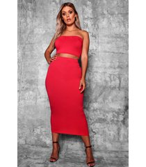 plus crêpe basic midi bodycon rok, rood