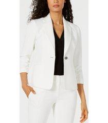 kasper petite textured single-button jacket