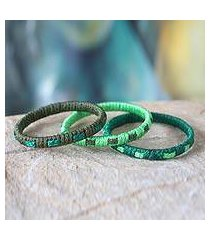 bangle bracelets, 'eden green' (set of 3) (ghana)