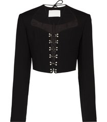 dion lee lace-up cropped jacket - neutrals