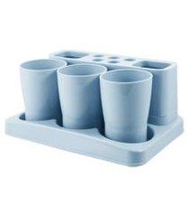 kit de banheiro de 5 peças jacki design lifestyle azul
