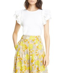 women's veronica beard biscay ruffle sleeve top, size large - white