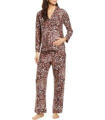 women's belabumbum leopard maternity/nursing pajamas
