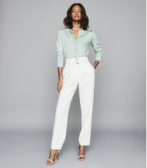 reiss ida - stitch detail button through top in pale blue, womens, size xl