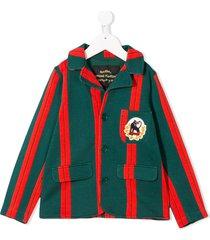 mini rodini panther badge striped blazer - green