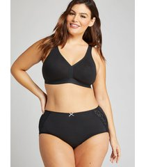 lane bryant women's cotton full brief panty with lace-trimmed back 30/32 black