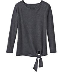 luchtige linnen pullover met bindsluiting, leisteen 40