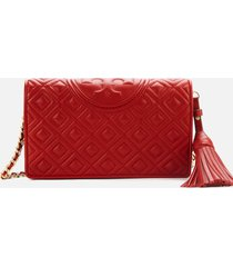 tory burch women's fleming wallet cross body bag - red apple