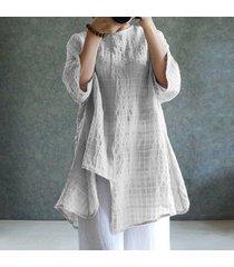 zanzea para mujer cuello redondo de manga larga a cuadros compruebe dobladillo irregular de algodón de lino tapas flojas blusa de la camisa -blanco