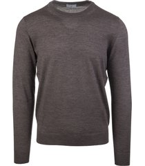 brown man pullover in cashmere and silk