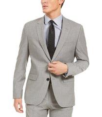 hugo hugo boss men's slim-fit stretch light gray sharkskin suit jacket