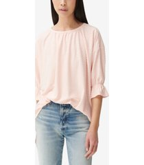lucky brand dot-jacquard scoop-neck top